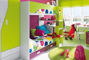 Habitaciones infantiles con literas. Viva el color