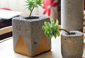 Floreros de cemento. Descubre un diy de peso
