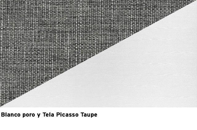Blanco poro + Picasso Taupe
