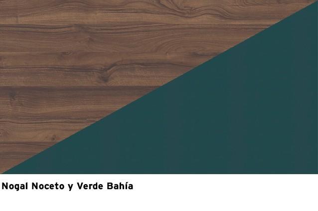 Nogal Noceto + Verde Bahía